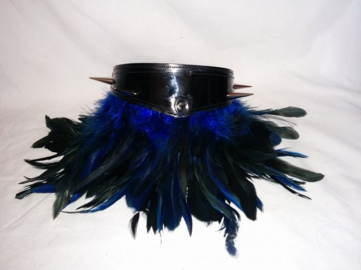Handmade leather 5 stud/spike collar with feathers by Koolies Kreations at IAMA