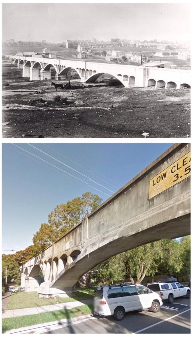 Johnston's & White's Creek Aqueduct, Annandale c1900>2014 [1900: Local Notes, 2014: Google StreetView, B.MacDougall]