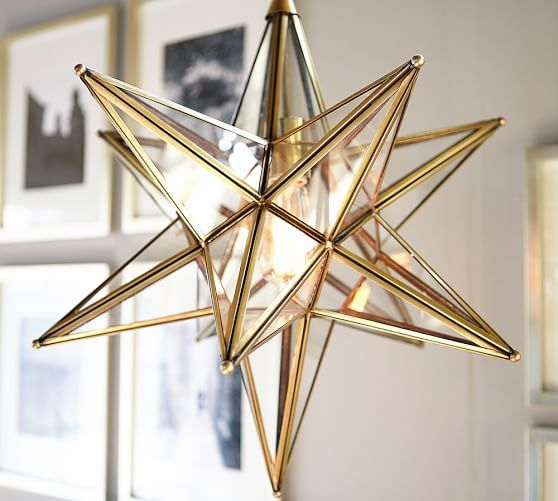 glass star pendant in gold foyer - Star Pendant Light
