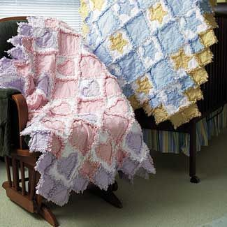Pretty baby girl or baby boy rag quilts.