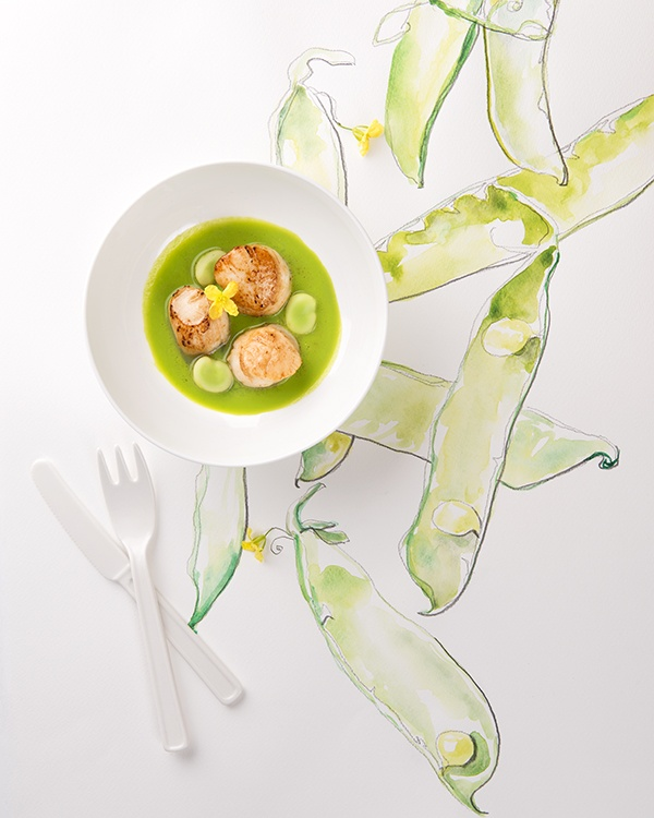 Marie Lukasiewicz photo.  Jessie Kanelos Weiner food styling.  Food styling and illustration. Pea recipe.    http://marieluka.com/