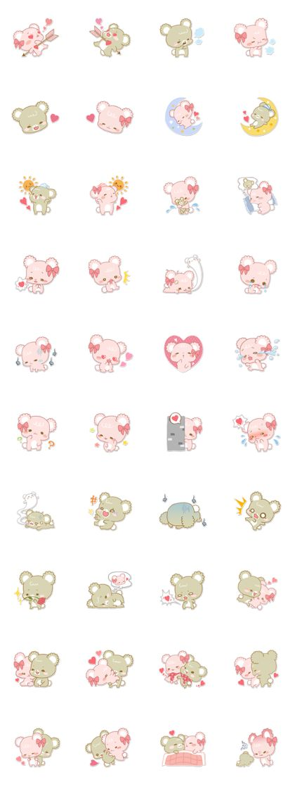 Pastel Kuma-kyun Line Sticker - Rumors City