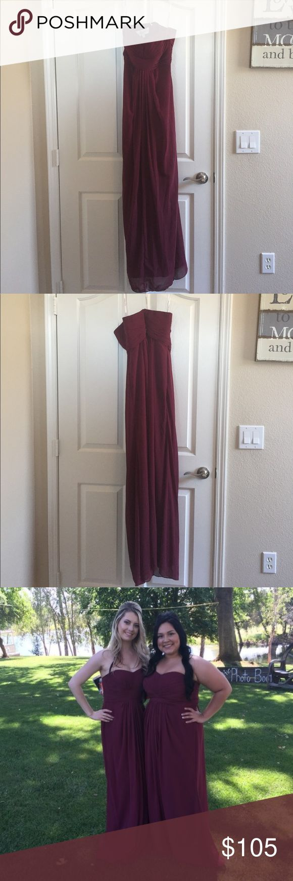"""David's Bridal bridesmaid dress Would be great for Prom or any special occasion! Worn once, in picture shown to a wedding. I'm the blonde in the pic and I'm 5'5"""". Size 4 fit me perfect. Perfect condition. David's Bridal Dresses Wedding"""