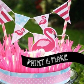 Printable Flamingo Party Cake Bunting by Style My Party