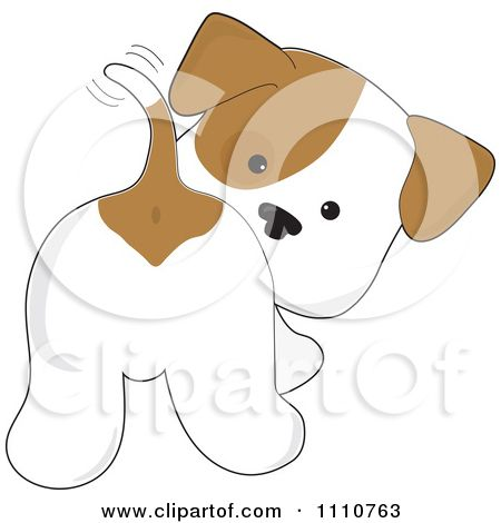 Cute Cartoon Dogs Clip Art | Clipart Cute Puppy Looking Back And Wagging His Tail - Royalty Free ...
