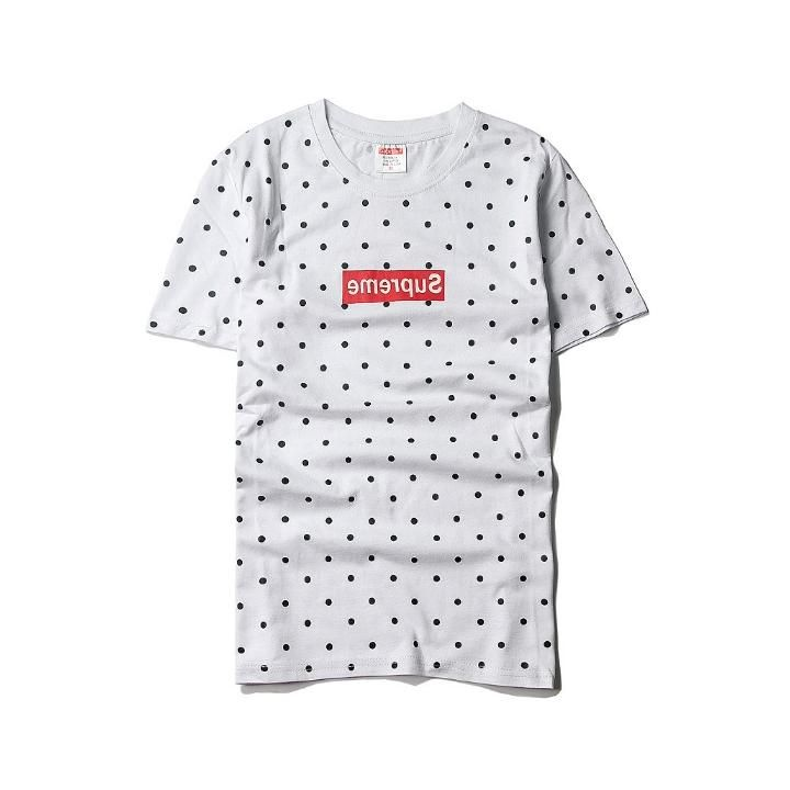 f5be33e8f2a1 Supreme Short T-shirt White Roundneck Black Dots #supreme #fashionshow