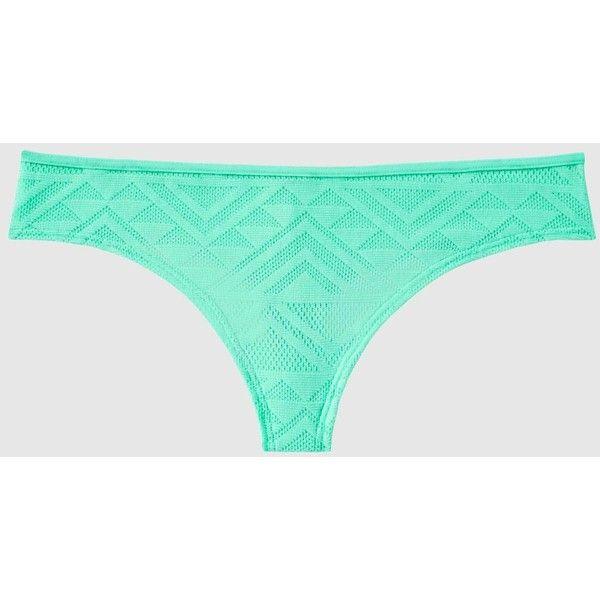 La Senza Thong Panty ($6.40) ❤ liked on Polyvore featuring intimates, panties, thong panty, la senza, thong panties, low rise thong and mesh panty