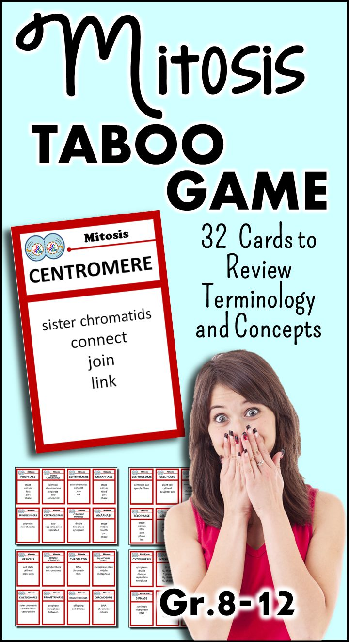 This Mitosis Taboo Game will have your students in stitches as they review the terms found int mitosis and the cell cycle.  One student at a time guesses the terms while the other give them descriptive clues WITHOUT using the taboo words found below the term.  This forces students to really think about concepts and reword them in different ways when they can't use the most obvious words.  ALWAYS a hit in class.
