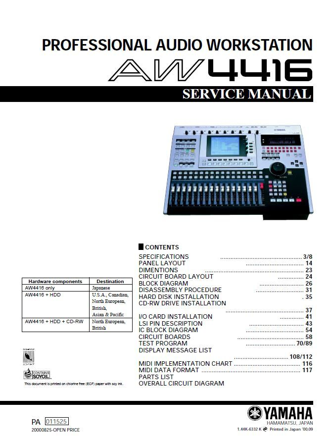 Yamaha Aw4416 Service Manual Troubleshooting Guide Circuit Board Professional Audio Repair Guide