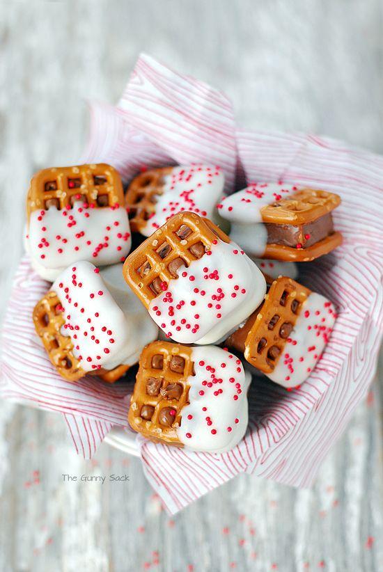 Vanilla Candy Bar Pretzel Bites Christmas Cookies Recipe
