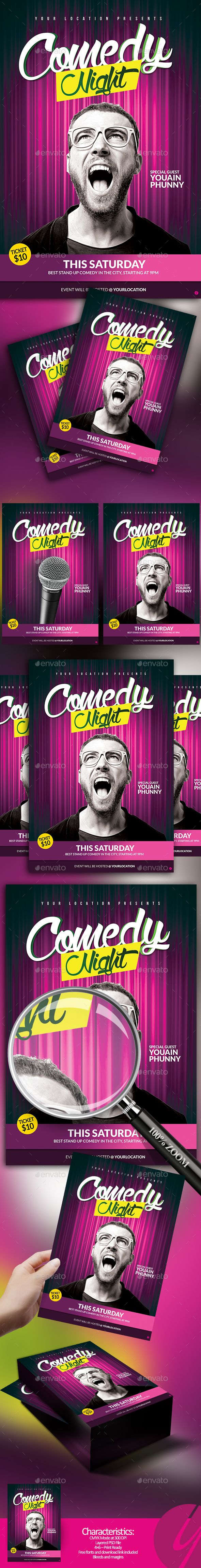 Comedy Night Flyer Template PSD