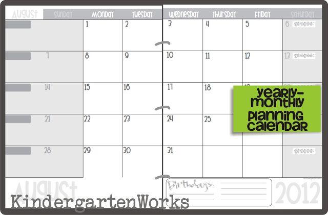 Kindergarten Calendar S S : Printable calendar  template teaching