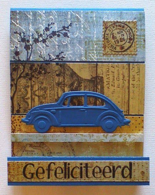 Marjoleine's blog: Auto's in andere kleuren op de mannenkaarten van de aanschuifworkshop van vandaag