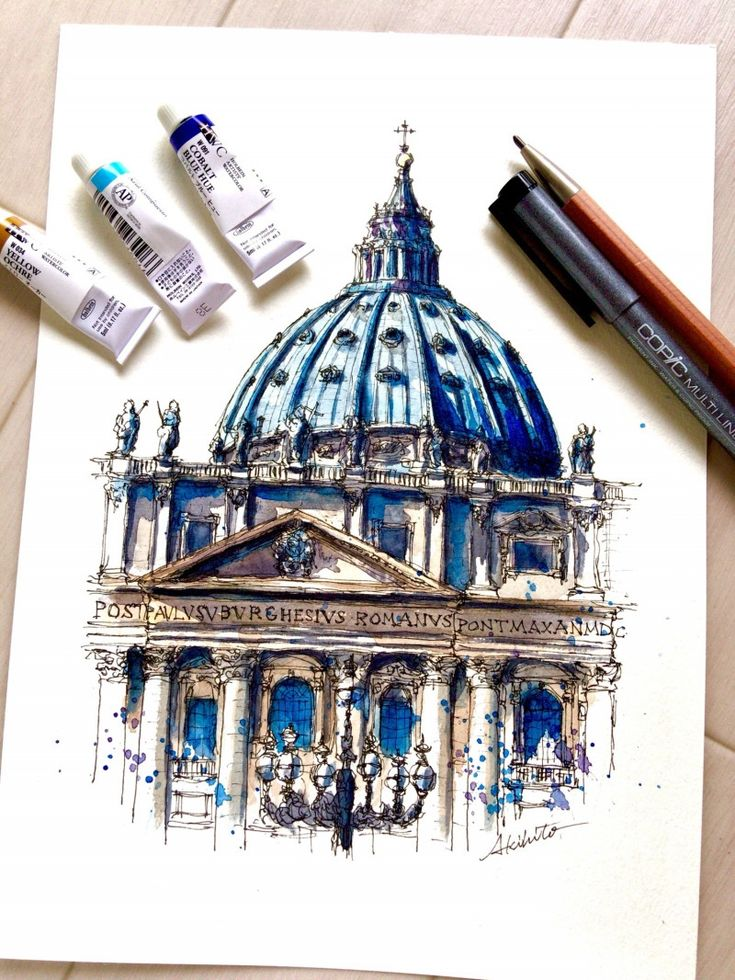 St.Peter's Basilica, Vatican City. Travelling, Drawing and Painting. By Akihito Horigome.