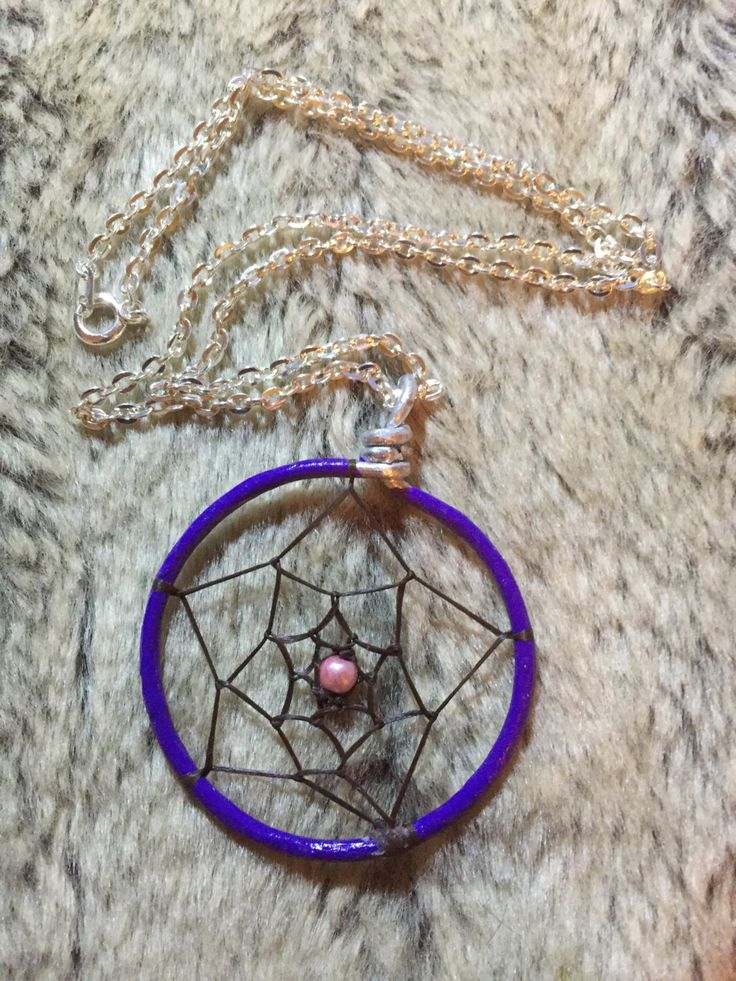 Hand wraped, woven and painted purple dreamcatcher pendant with pink glass pearl and 18' nickel free chain by EarthDiverCreations on Etsy https://www.etsy.com/ca/listing/483310570/hand-wraped-woven-and-painted-purple