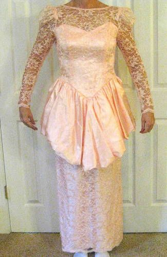 $1 HORRIBLE Pink Lace Prom Dress Refashioned & also made a Purse - CLOTHING
