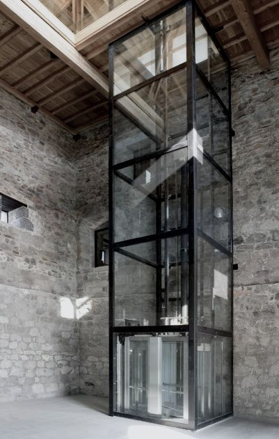 glass elevator at the torremadariaga basque biodiversity centre, busturia spain More