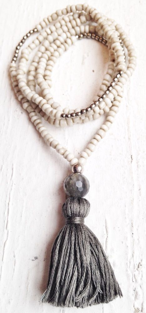 Image of Love Bead Necklace - Soft Cream Seed Beads, Labradorite, Steel Grey Tassel