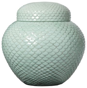 Celadon Scallop Design Ginger Jar - transitional - food containers and storage - Bliss Home and Design