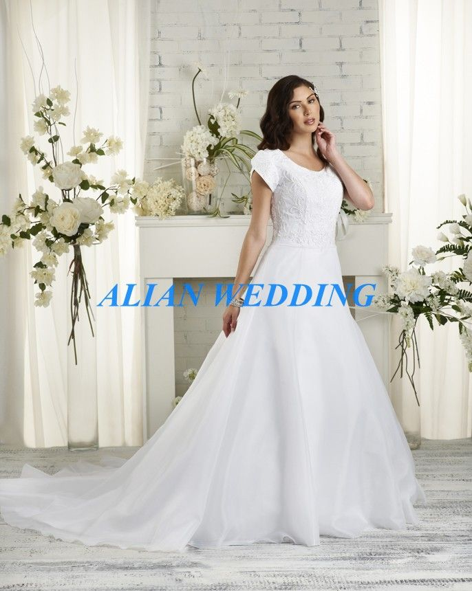 Vintage Wedding Dress Short Sleeve White Organza Bridal Gowns High Neck 2015 Hot Sale Lace Bodice Free Shipping BN3441