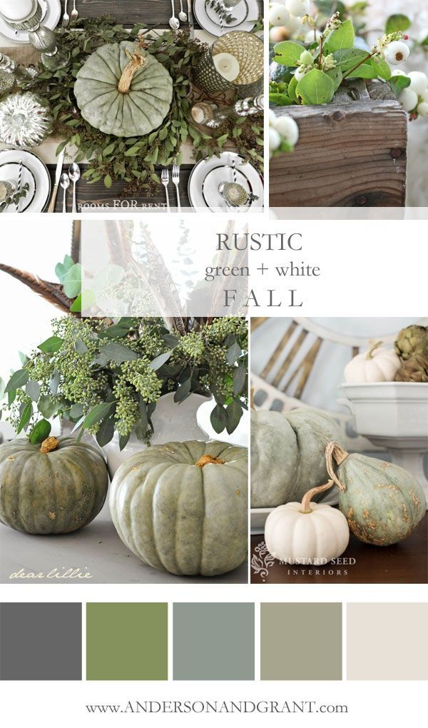 Check out this inspirational mood board featuring all the rustic green and white decorating ideas that you need to create a neutral fall color palette. | http://www.andersonandgrant.com