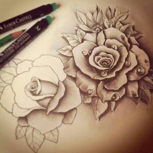 Roses Sketch Flowers Pinterest Awesome Tattoos