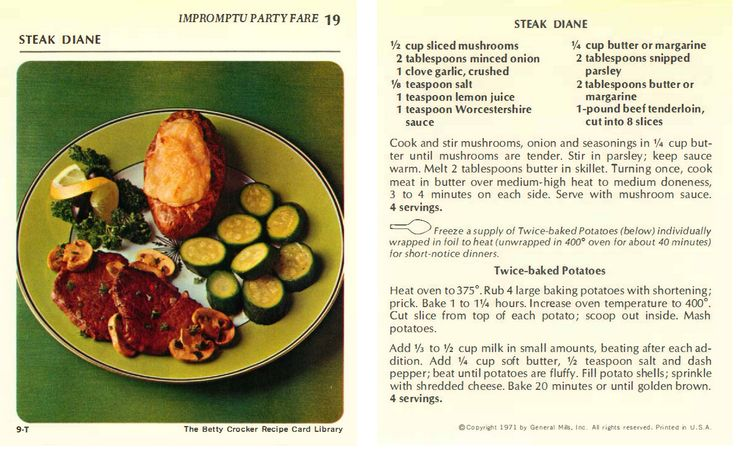 Steak Diane from the Betty Crocker Recipe Card Collection 1971 | Impromptu Party Fare #T - |