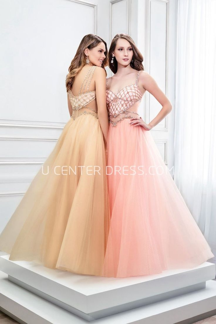 $143.49-Sexy Beaded Strapped Sleeveless Tulle Evening Gown With Low-V Back and Spaghetti Straps. http://www.ucenterdress.com/a-line-beaded-strapped-sleeveless-tulle-prom-dress-with-low-v-back-pMK_300307.html.  Shop for affordable evening gowns, prom dresses, white dresses, party dresses for women, little black dresses, long dresses, casual dresses, designer dresses, occasion dresses, formal gowns, cocktail dresses . We have great 2016 Evening Gowns on sale now. #evening #gowns