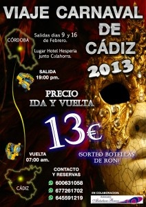 CARTEL VIAJE CARNAVAL DE CADIZ 2013