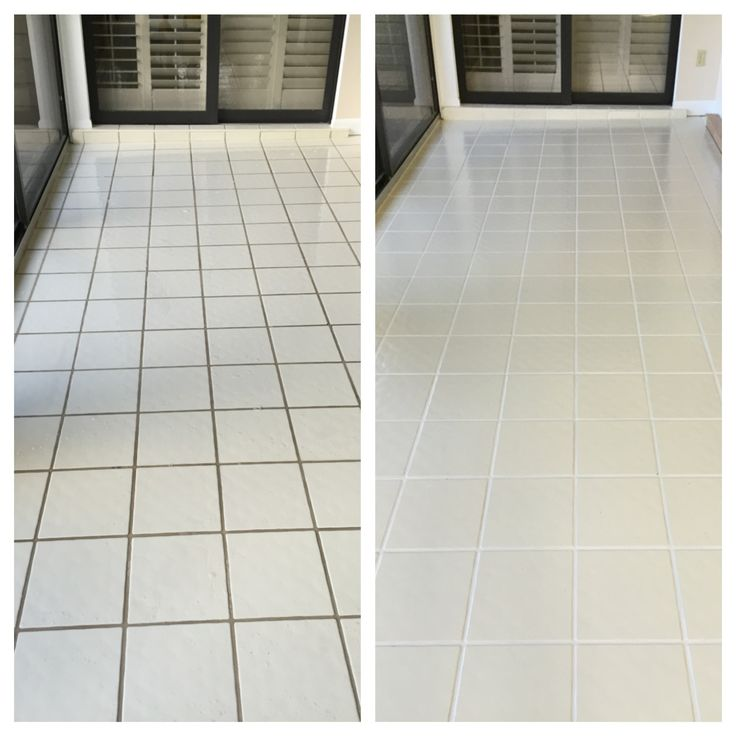 before and after Grout Plus clean and color seal Clean