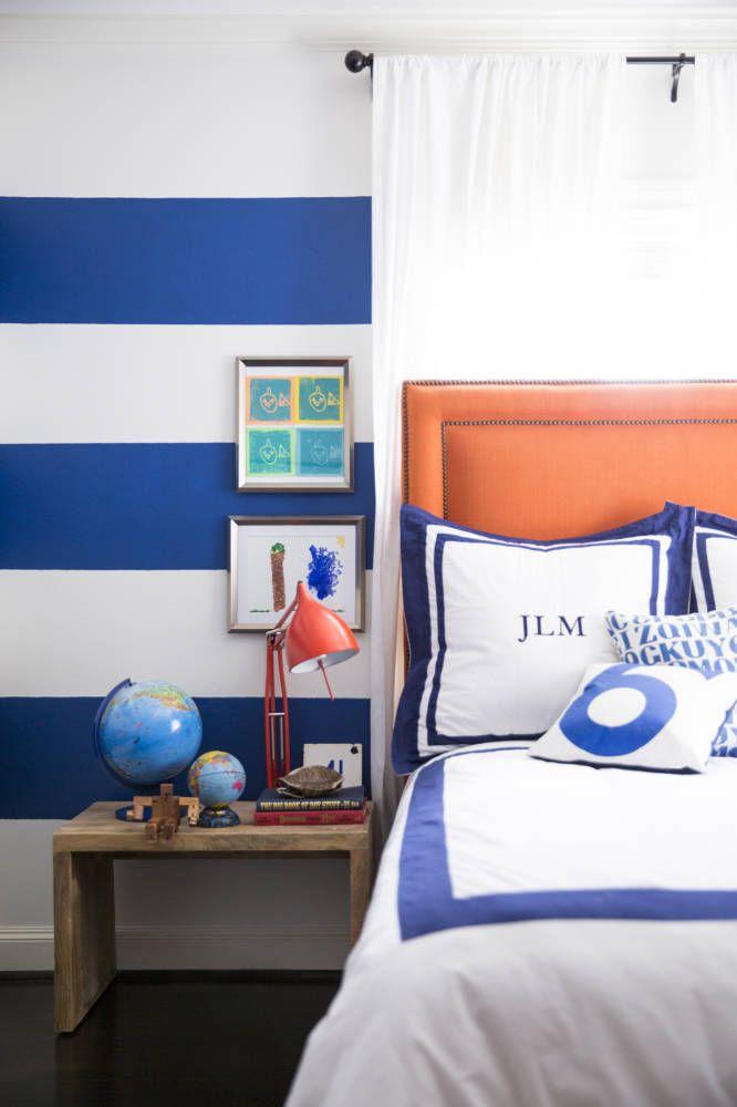 Sally Wheat Interiors, Domino Magazine, boy's room, blue and orange