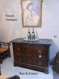 ANTIQUE FRENCH LOUIS PHILIPPE CHEST OF DRAWERS MARBLE BRONZE