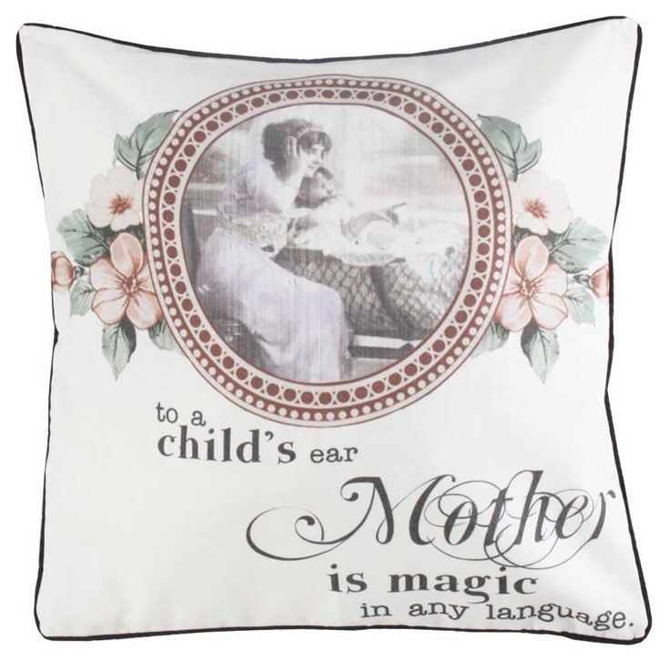"""Pernă decorativă """"Magic"""" - cu imprimeu în stil vintage şi un strop de mesaj."""