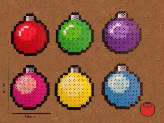 Christmas Bauble Pixel Bit Art Ornaments and Magnets by DJbits