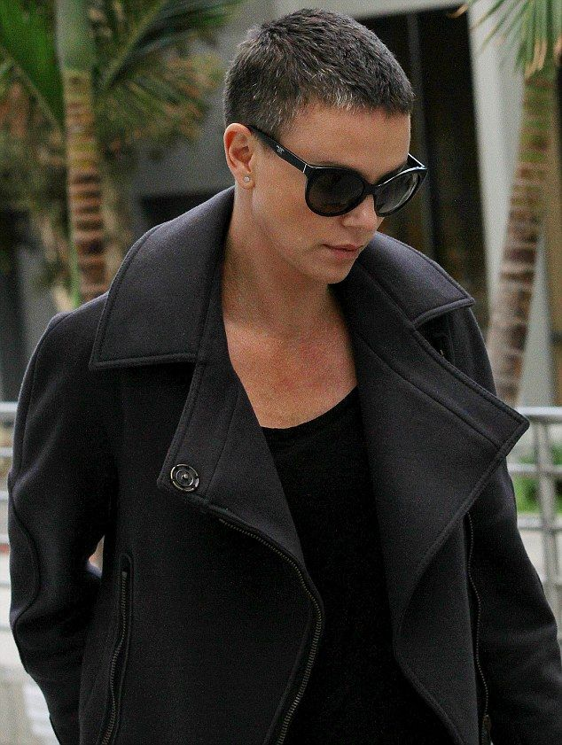 Brave beauty: Charlize Theron stepped out with grey hair in Beverly Hills, California on Saturday