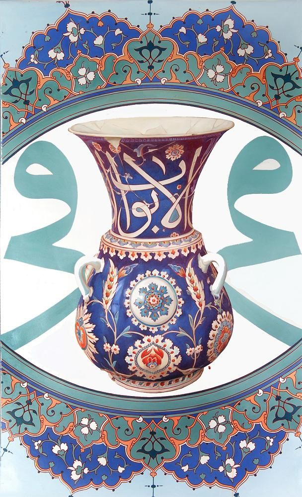 Tezhipli çini vazo 130x180cm yağlıboya,Gilded china vases,oil on canvas