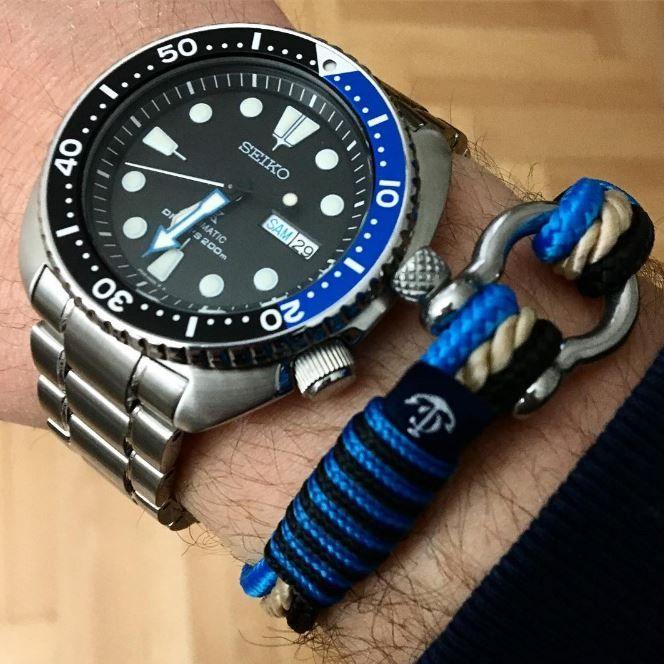 Seiko New Turtle Armband blau Nautical Rope