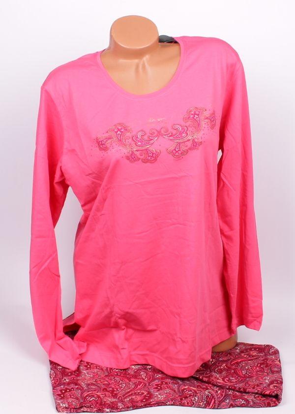 Макси пижама в два тона розово.  Памучна макси пижама в два тона на розовото. Горното на пижамата е в розов цвят, дълъг ръкав, обло деколте и нежна декорация. Долното е прав панталон в розово и бордо и красиви орнаменти. Ластик и връзка на талията