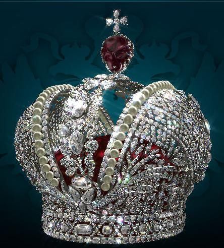 The Great Imperial Crown made in 1762 for the coronation of Catherine the Great by the court jeweler J.Pauzie represents the height of creative imagination, lavish beauty and skilled workmanship. It is adorned with five thousand diamonds arranged in a splendid pattern of laurel wreaths and oak branches.