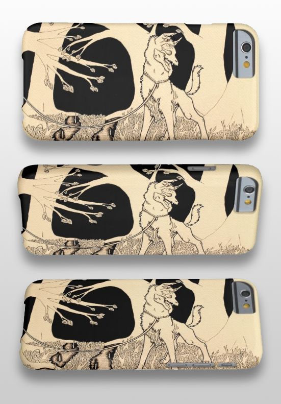 """Walking a Dead Dog"" Black and white illustrated zombie dog iPhone Case #products #art #illustration"
