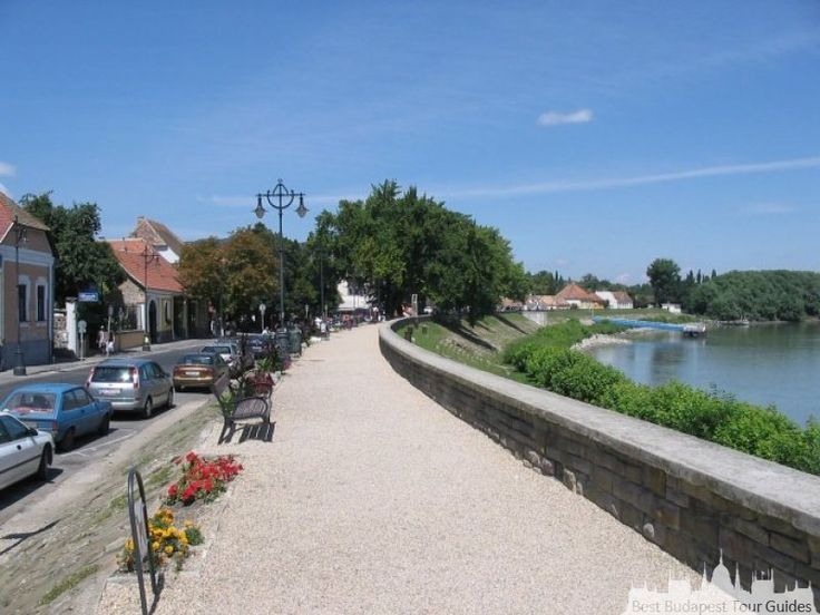 Bicycle lane on the river bank in Szentendre, Hungary