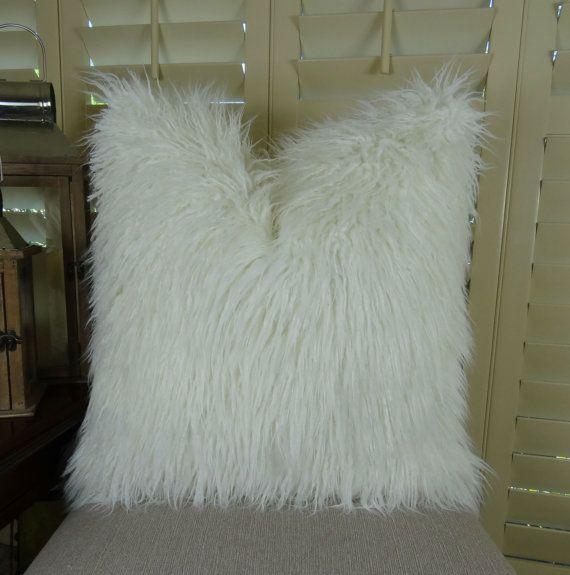 White Fur Pillow  White Mongolian Faux Fur by PillowsandAccents