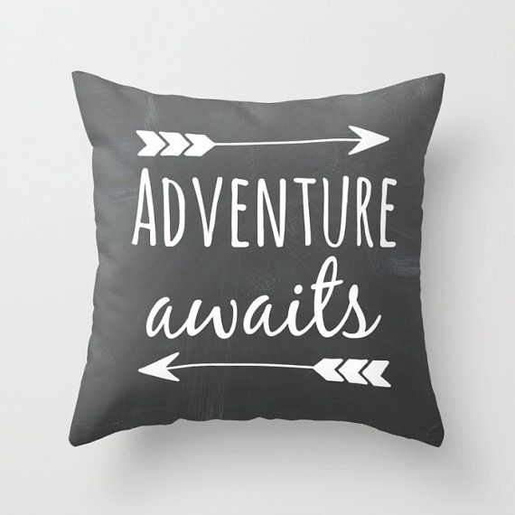 Black Chalkboard Pillow with Adventure Awaits and arrow detail. Throw Pillow made from 100% spun polyester poplin fabric, a stylish statement
