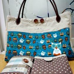 DIY diaper bag, changing mat and diaper/wipes holder