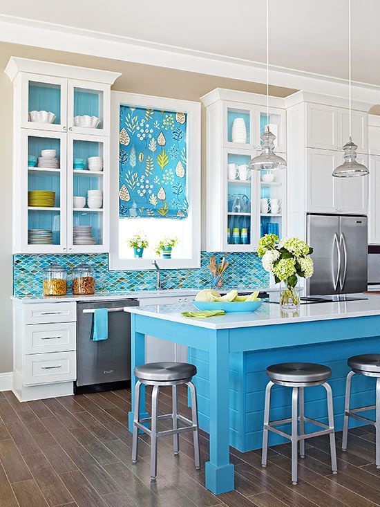 ideas for a blue backsplash! Whether you want a bright and bold blue