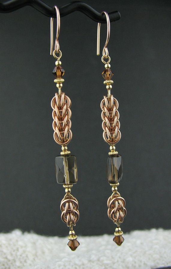 Long Rose Goldfill Mixed Metals Chainmaille Earrings, Rose and Yellow Goldfill Chainmail Jewelry, Long Chainmail Brown Gemstone Earrings