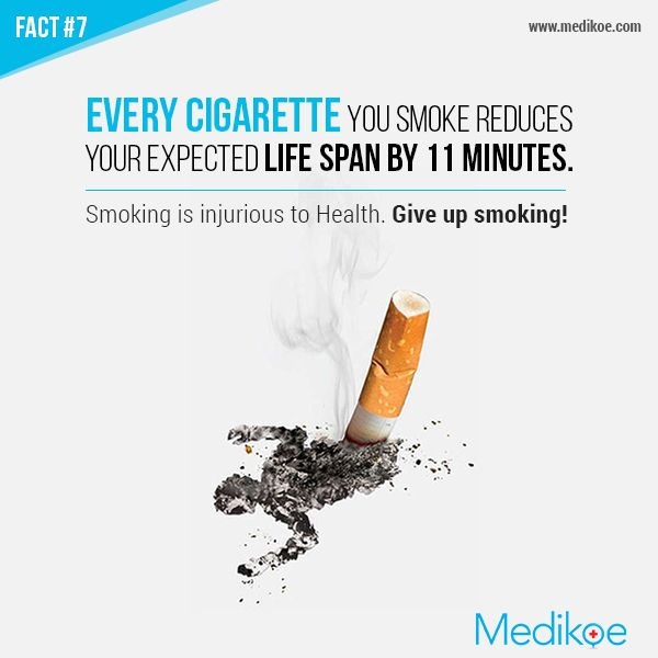 Every Cigarette you smoke reduces your expected life span by 11 minutes. Smoking is injurious to Health. Give up smoking! #Fact #HealthyLiving
