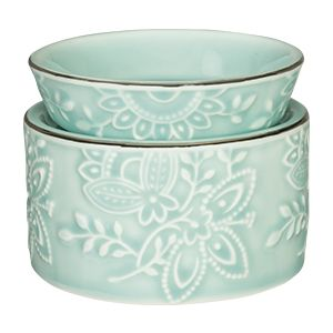 Exquisite, vintage-style detailing against pastel blue porcelain is the very definition of pretty.