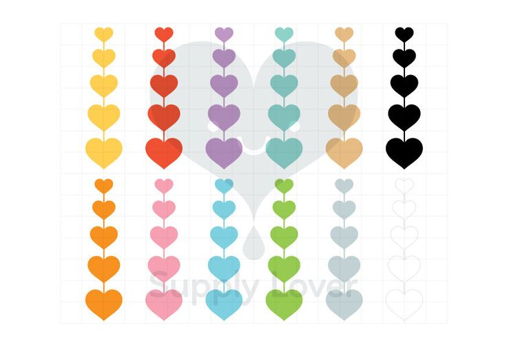 STRING OF HEARTS Clip-Art Commercial Use, Heart, Row, Hearts, Valentines, Love, Romance, 12 Colors - B0028
