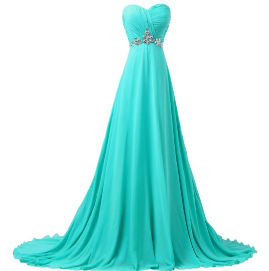 Turquoise Women's Long Formal Dress - Bridesmaids - Prom - Party